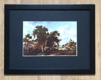 """Framed and Mounted Entrance to a village Print by Meindert Hobbema 16"""" x 12"""""""