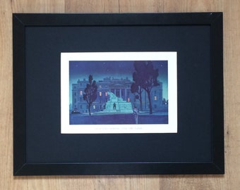 "Framed and Mounted London Noctune Hyde Park Corner Print by W James - 16"" x 12"""