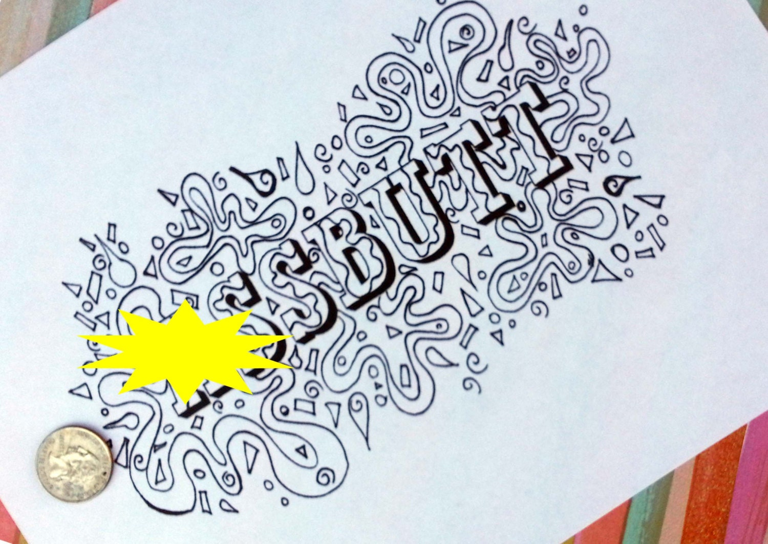 AButt Swear Word Coloring Book Pages Curse