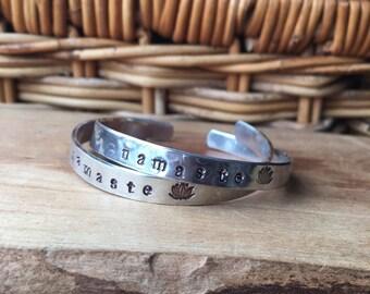 Namaste Stamped Cuff, Lotus Symbol, Aluminum Adjustable Cuff Bracelet