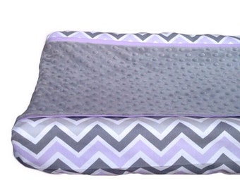 Grey, lavender chevron changing pad cover, lavender trim grey minky dot
