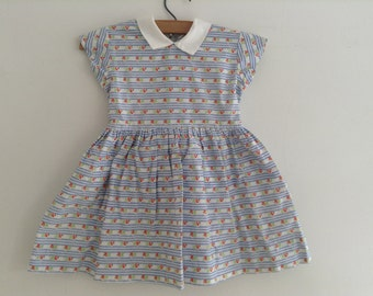 1950's Floral Cotton Girls Dress