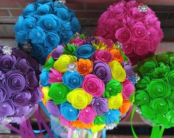 Medium Custom Handmade Paper Wedding Bouquet Bride or Bridesmaids Bouquet ANY COLORS Neon Wedding, Neon Pink, Neon Blue, Neon Green