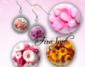 Flower Petal  - Digital Collage Sheet 20mm, 18mm, 16mm, 14mm, 12mm circle.Glass Pendant.Bottlecaps Scrapbooking downloads