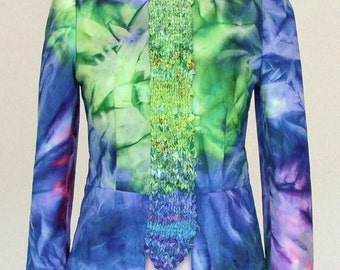 """Jacket """"blaze of color""""/summer jacket/art inspired/cotton/fitted/purple-red blu/padded/batik/hand-knitted/fabric ribbons/by  ELENAMODA."""