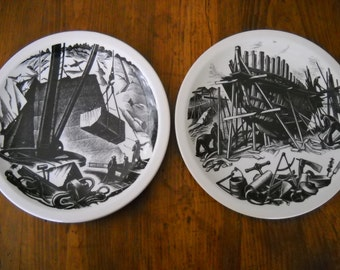 Set of 2 Vintage 1952 Wedgwood Clare Leighton Plates New England Industries Series From Wood Engravings