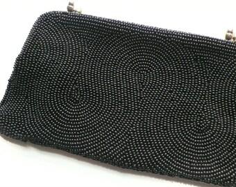 Vintage Black Beaded Clutch | purse | evening bag