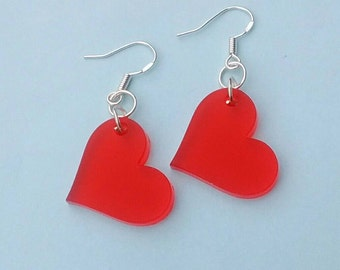 Frosted Red Heart Earrings, Laser Cut Acrylic Jewellery. Kawaii