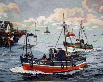 Return of the fishers vintage french hand stitched needlepoint wall tapestry ideal for wall/cushion/pillow/bag/stool/chair cover