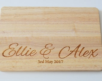 Personalised Wedding Gift Wood Chopping Board -Engraved Chopping Board - Custom Made - Cutting Board - Made to Order