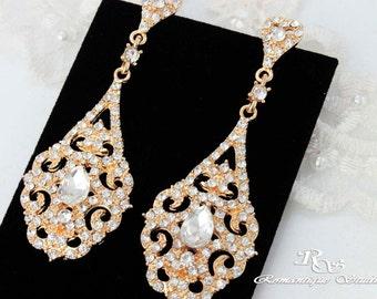 Crystal wedding earrings, vintage style, chandelier earrings, wedding gold earrings, statement earrings, bridal chandelier earrings - 1309G