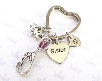 Birthstone keychain for sister - Infinity keyring - Sister birthday - Sister keyring - Elephant keyring - Sister gift - Stocking filler - UK