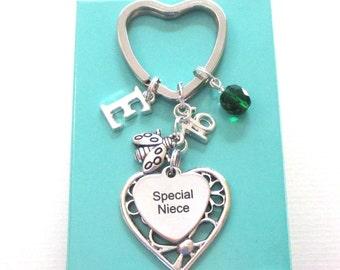 Special Niece gift - 16th birthday gift for niece - Initial Niece keyring - Ladybug keychain - Charm keyring for niece - Niece 16th gift
