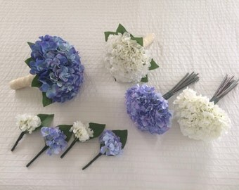 Artificial Brides hydrangea blue or ivory floral wedding bouquet... With greenery & matching button holes/bridesmaids bouquets  available