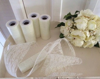 Wedding vintage style ivory lace x1 roll 15cms x 10metres for pew ends, table runners,bouquets,table centrepieces rustic shabby chic....