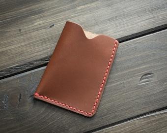 Minimalist Credit Card Holder, Custom Leather Card holder case, Minimalist Leather Wallet, Mens Womens Credit Card Holder - Bourbon