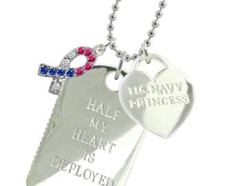 Rhodium Plated Navy Girlfriend Dog Tag  (Free Shipping)