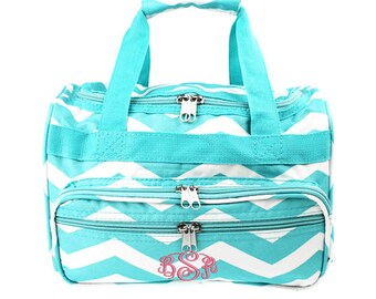 Monogrammed Kids' Size Duffle Bag - Aqua Chevron