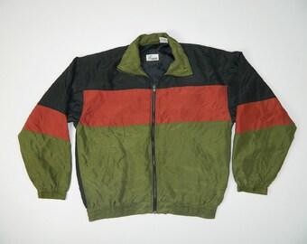"""Vintage Color Block Silk Jacket"""""""