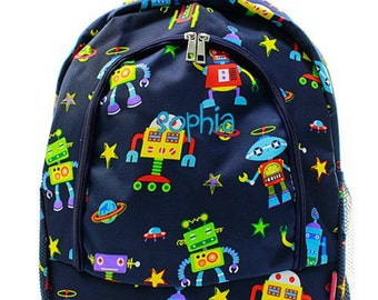 Personalized Robot Backpack Monogrammed Bookbag Navy Blue Lime Green Boys Girls Large Kids Tote School Bag Embroidered Monogram Name