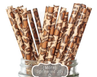 LEOPARD PRINT Paper Straws Multipack, Giraffe, Animal, Cat, Vintage, 25 Straws, Party