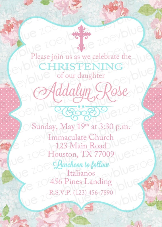 Shabby Chic Baptism Invitation Girl Floral Christening