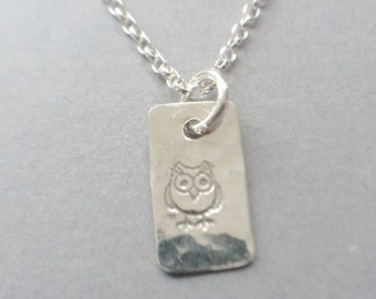 Sterling Silver Owl Pendant Necklace, Hand Stamped Pendant, Sterling Silver Chain Necklace, Owl Jewellery, Bird Necklace, Rectangle