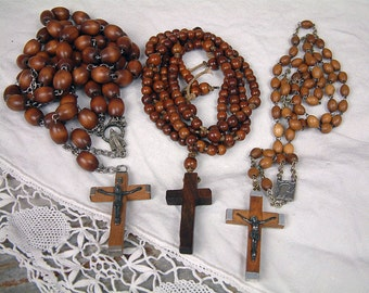 Set of 3 antique and vintage French wood bead rosaries. Vintage rosaries. Long wood bead rosaries. Lourdes rosary