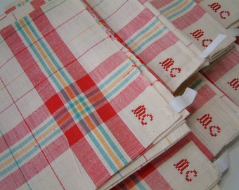 Set of 3 French vintage linen tea towel ecru with red, turquoise, gold plaid. Rustic french country kitchen. monogram MC. Never used