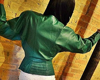 SALE Chic Vintage Forest Green Peplum Leather Jacket by CHIA