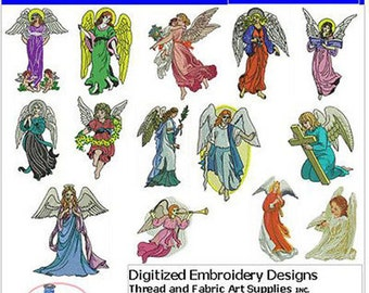 Embroidery Design Cd - Angels(1) - 14 Designs - 9 Formats - Threadart