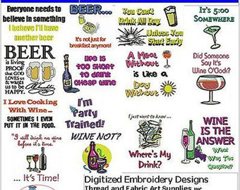 Embroidery Design Cd - Beverage Quotes(1) - 14 Designs - 9 Formats - Threadart