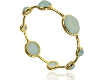 Aqua Chalcedony Bangle - Stackable Bangles - Gemstone Bangles - Gemstone Bracelet - Gold Bangles - Birthstone Bangles - Birthstone Bracelet
