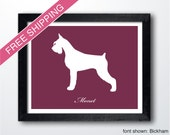 Personalized Giant Schnauzer Silhouette Print with Custom Name (Cropped Ears and Docked) - schnauzer art print, dog gift, dog art