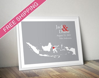 Custom Wedding Gift : Personalized Wedding Location and Country Map Print - Indonesia - Engagement Gift, Wedding Guest Book