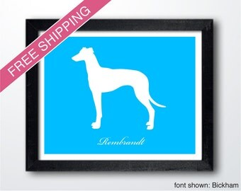 Personalized Greyhound Silhouette Print with Custom Name - greyhound art, greyhound gift