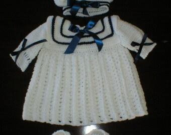 "Baby""s Hand Crochet White & Navy Sailor Dress"