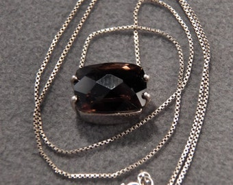 Vintage Sterling Silver Big Bold Exquisite Genuine Smokey Quartz Necklace Jewelry **RL
