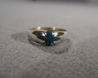 Vintage Sterling Silver Starburst Turquoise Southwestern Style Band Ring, Size 6    KW241