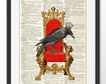 Raven Crow King, Art Print on antique book Page, Dictionary art print, Crow Raven Art Print, Wall Decor, Poster Painting