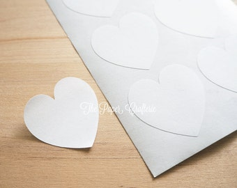 White Heart Stickers Matte Envelope Seals Jar Labels - Pack of 48