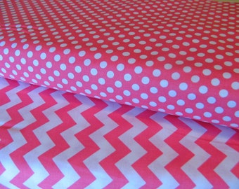 Riley Blake Fabric Bundle 1 Yard Each Small Hot Pink Chevron And Small Hot Pink Dot Cotton Fabric
