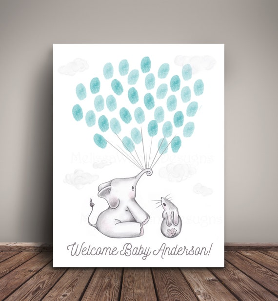 elephant baby shower guest book alternative or elephant birthday