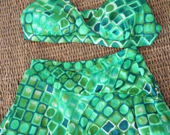 vintage 1960's green high waist 2 piece skirted swimsuit womens