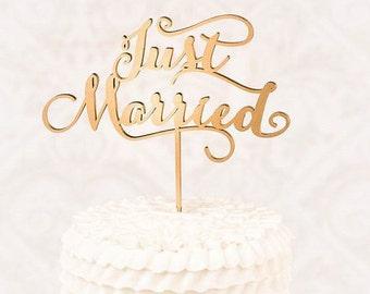 Vintage Just married wedding cake topper, Vintage wooden cake topper