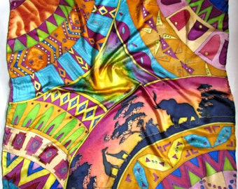 Womens Silk Scarf, Square scarf handpainted, Silk scarf,. Hand painted Silk Shawl 'Jungle'.African motifs.Batik Hand painted Silk scarf.