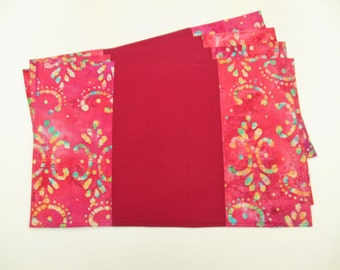 Quilted Placemats Batik Fabric Burgundy Cranberry Set of 4