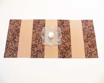 Quilted Table Runner Brown Geometric Retro Tan Neutrals