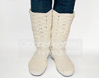 Crochet pattern : women lace boots on rubber soles,outdoor crochet boots,women crochet boots for street,adult sizes,lace boots,footwear,teen
