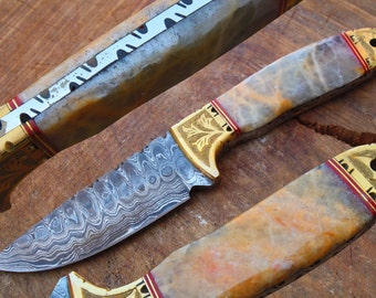"""One of a Kind 8.9"""" Damascus Blade Collector Hunting Knife w/Engraved Brass Bolsters, Afghan ONYX, Sheath UDK-F-024"""